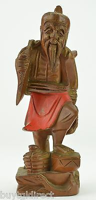 """Vintage Japanese Wood Carved Fisherman Figurine 12"""" tall Collectible Home Decor"""