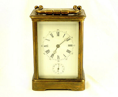 Antique French 8-Day Gilt Brass Carriage Clock Hour Striking Alarm To Refurbish