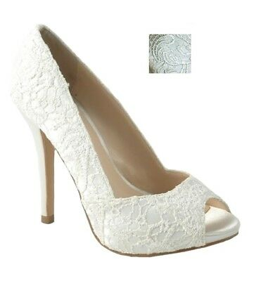 Dune Breena Women/'s Ivory Lace Pointed Wedding Court Shoes Size UK 7