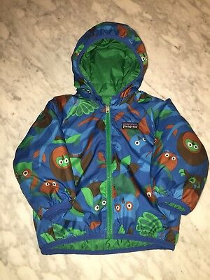 Patagonia Baby Boy's Reversible Puff-Ball Jacket. 6-9 months Owls/Green/blue