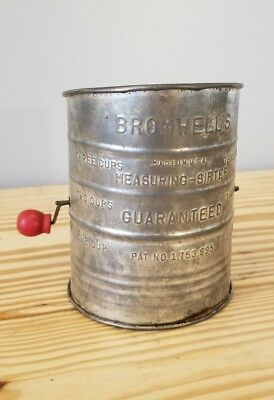 VINTAGE Bromwell's 3 Cup Metal Flour Sifter Red Wooden Handle~USA