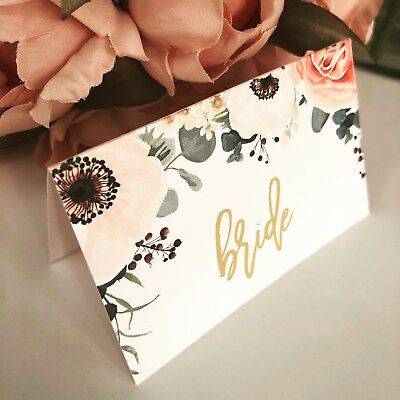 10 x personalised floral name Wedding place settings/cards - Alessia range