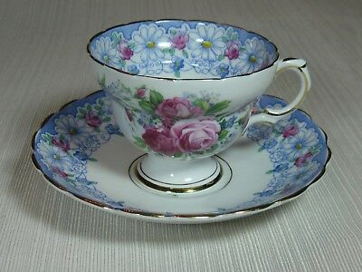 Rosina Bone China Footed Cup & Saucer Pink Roses with Blue Floral Rim Gold Trim