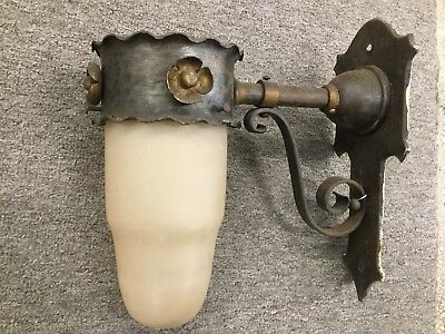 WROUGHT IRON WALL SCONCE Elec Gothic Revival w Orig Glass Globe