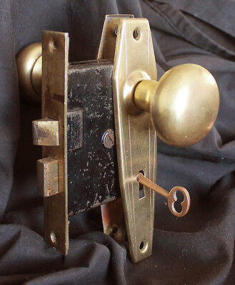 Restored Antique Vintage Deco SOLID Brass Door Lockset Set Knob Plate Lock Key