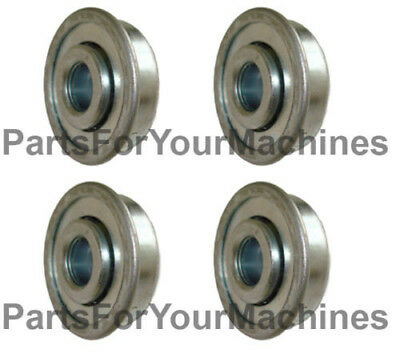 "4 FLANGE BALL BEARINGS, 1-1/8"" OD x 3/8"" ID, SOME WAGONS, TOYS, ROCK TUMBLERS"
