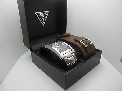 Men's Guess H20 Resistant Analog Dial Watch W/ Box + Leather Band (G960476) A89