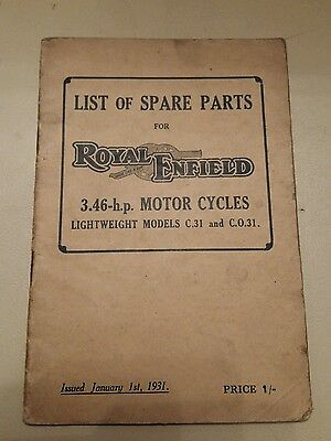 Royal Enfield 3.46 hp c31 co31 illustrated parts list book original Jan 1931