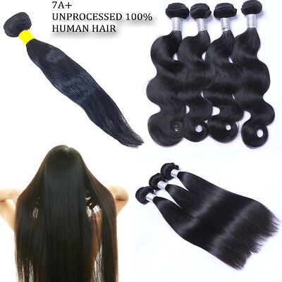 100% Human Unprocessed Brazilian Peruvian Virgin Human Hair Extension 100g Weave