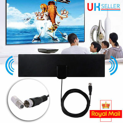 TV & F Connector Female Flat Indoor Antenna Aerial HD TV Fox Scout HDTV VHF UHF
