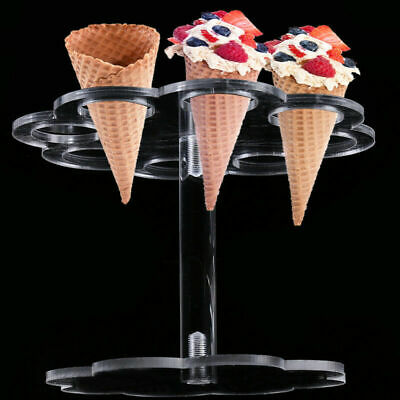 US Acrylic Ice Cream Cone Holder Buffet Cupcake Display Stand Party Decor 8Holes