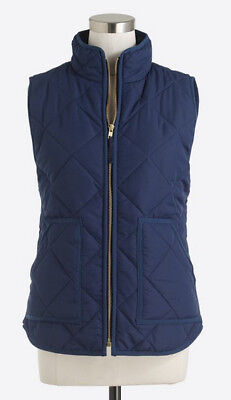 NWT J CREW Vivid Ink Blue Quilted Puffer Excursion Vest Size XS