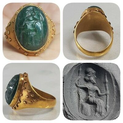 Ancient Genuine Jade stone King Seal 22k Gold Unique Ring    # F