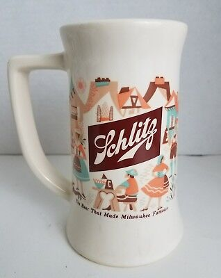 "KW-168 Vintage Schlitz 6"" beer mug glass cup Bavarian October fest motif ceramic"