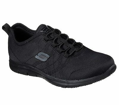 77211 W Wide Fit Black Skechers shoes Women Memory Foam Work Slip Resistant Sole