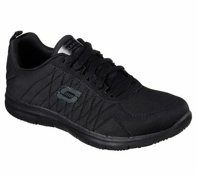 Skechers Work Black Wide Fit Shoe Women Memory Foam Slip Resistant EH Safe 77204