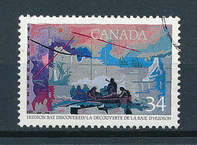 CANADA  #1107i used, Explorers of Canada  With Pink Print Flaw, 1986, CV $5
