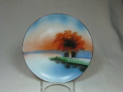 "Chikaramachi China Hand Painted 6"" landscape Plate Orange Sunset Scene"