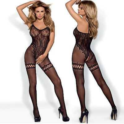 OBSESSIVE Bodystocking F213 Spitze Negligee Obsessive Catsuit Schwarz S - 2XL