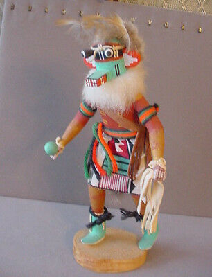 "Hand Carved Kachina CRAZY RATTLE 9 1/4"" Authentic Kachina Doll Arizona Signed"