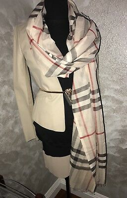 NEW BURBERRY LIGHTWEIGHT Wool/Silk CLASSIC CHECK SCARF SHAWL WRAP UNISEX 220x70