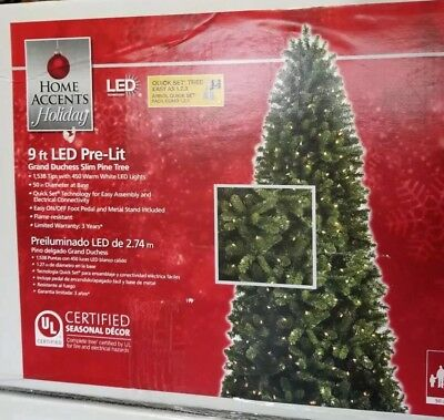 new home accents 9 ft pre lit led grand duchess christmas tree sealed in box - 9 Ft Led Christmas Tree