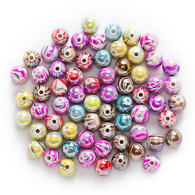 50 Pcs Mixed Multicolor Acrylic Stripe Pattern Jewelry Making Spacer Beads 10mm