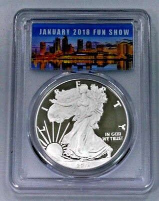 2018-W Proof Silver American Eagle PCGS PF69DCAM First Strike--FUN SHOW LABEL