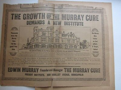 Murray Cure alcohol liquor opium morphine cure newspaper clippings Fargo N.D. AA