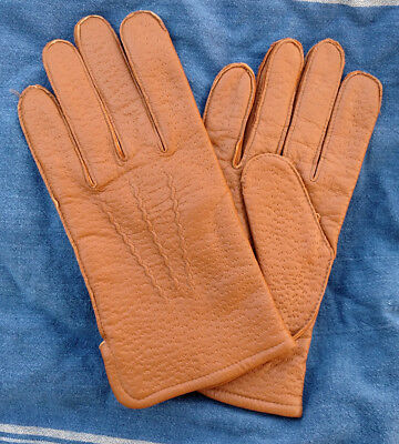 Vintage Ritzee mens pecari peccary brown leather lambskin gloves lined NOS