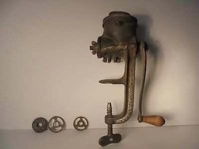 Vintage Rollman No 12 Small Food Chopper Meat Grinder Mt. Joy Pa.Cast Iron 5 Die