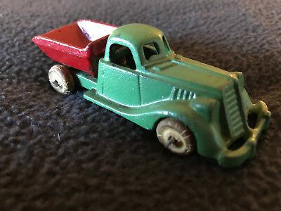 Vintage Antique Hubley Cast Iron Dump Truck Toy Red and Green - early 1930's?