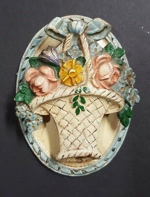 Vintage Hubley Antique Cast Iron Hand Painted Door Knocker Flower Basket