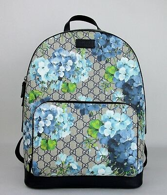 ad558953cf82 Gucci Unisex Beige Blue GG Coated Canvas Bloom Backpack w o box 406370 8496