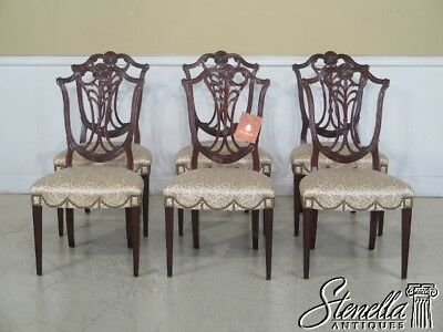 L43567EC: Set OF 6 KARGES Carved Mahogany Federal Dining Room Chairs