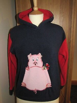 Girls Hooded  Cosy Warm Fleece Top Navy & Red Pink Pig Motif Age 6/7