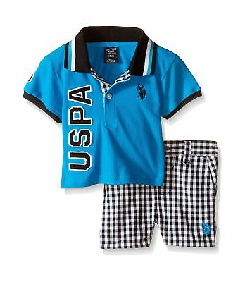 U.S. Polo Assn. Baby Boys' Polo and Gingham Short Set Neon Turquoise 3-6 Months