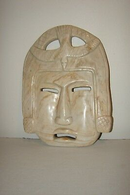 Hand Carved Polished Stone Face Mask Mexican Bird Aztec Tiki Jungle Art