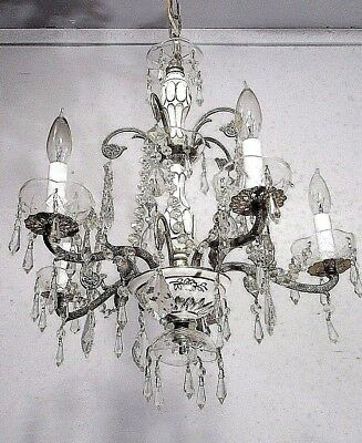 Antique Vintage Chandelier Bronze Porcelain Italy White Gold Crystals Fixture