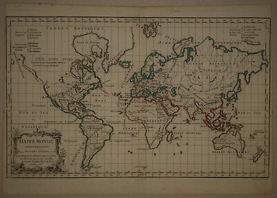1778 Genuine Antique map of the world. Mappe-Monde. by R. De Vaugondy