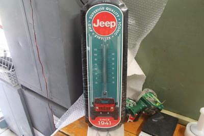 """LOT OF 4 JEEP ICONIC RELIABLE 4WD SINCE 1941 METAL SIGN THERMOMETER 26"""" x 9"""""""