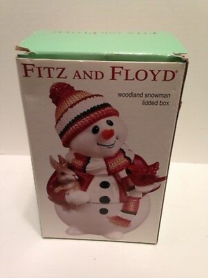 "Fitz and Floyd Woodland Snowman Lidded Box 2003 Candy Jar 7"" Tall Bunny Bird"