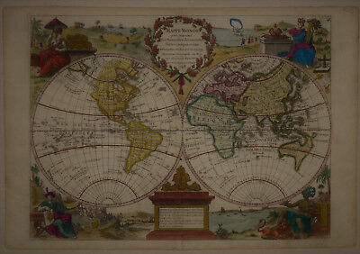 1748 Elegant Genuine Antique map World East & West Hemispheres. Le Rouge