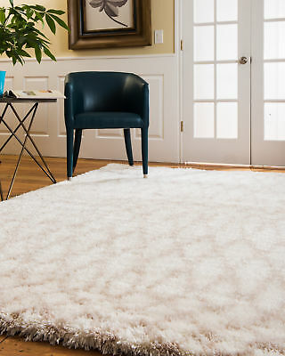 Natural Area Rugs Prague  White Shag Area Rug Multi Size