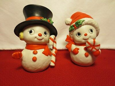 Homco 5604 Vtg Ceramic Christmas Figurine Snowman Boy Girl Candy Cane Snow Kids
