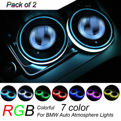 2PCS Colorful LED Car Cup Holder Pad Mat for BMW Auto Interior Atmosphere Lights