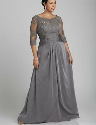 2018 Long Gray Mother of the Bride Dress Half Sleeve Lace Chiffon Evening Gowns