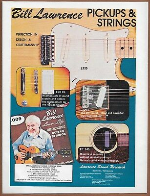 Bill Lawrence Pickups & Strings Single Page Magazine Print Ad 1978