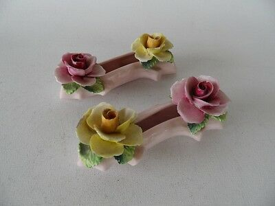 2 Vintage Radnor Made In England Floral Flowers Majolica China Log Ornaments
