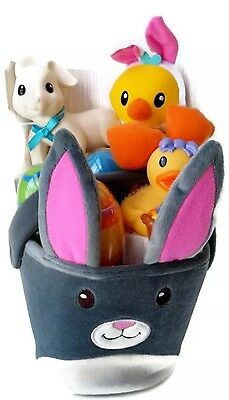 Infantino Go GaGa Plush Bunny Basket of Toys for Baby Rattle Teether New